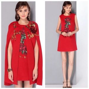 Dresses & Skirts - The Belen Red Rose Cashmere Dress & Cape Set